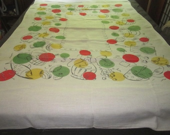 Vintage 52x88 Linen Kitchen Tablecloth with Colorful Culinary Design