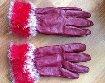 vintage RED leather gloves faux fur trim fancy lined warm S