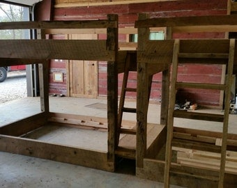 YOUR Made to Order Double Barn Wood Bunk Bed with Stairs and FREE SHIPPING - BWBB975F