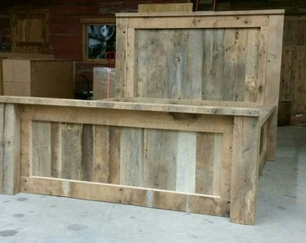 YOUR Made to Order Rustic and Recliamed Barn Wood Bed with Drawers and FREE SHIPPING - BWH15F