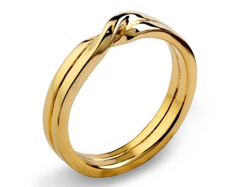LOVE KNOT 18k Gold Wedding Band, Unique Mens Wedding Band, His and Hers Wedding Ring Gold, 18k Gold Ring