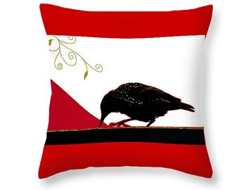 Crow Pillow, Red Black and White Art, Bird Home Decor, Decorative Throw Pillow, Red Bird, Living Room or Bedroom, Wildlife Decorative Art