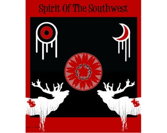 Southwestern Art, Bugling Elk, Poster Style, Home Decor, Red White, Symbols, Tribal Sun Moon, Typography Wall Hanging, Giclee Print, 8 x 10