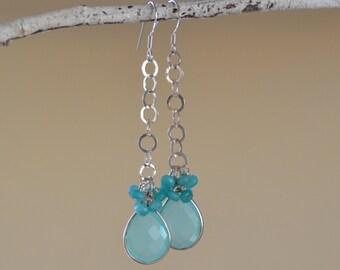 Aquamarine Earrings.  Sterling Silver Earrings. MEDITERRANEAN BLUE Aquamarine Gemstone. Silversmith. Fine Jewelry.