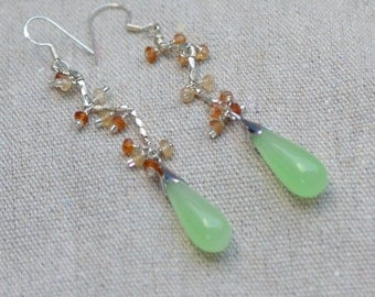 Jade Sterling Silver Teardrops Earrings. Mint Green Genuine Jadeite and Hessonite Garnet Sterling Silver Earrings. Gemstone Earrings.