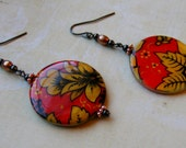 Red and YellowFlowers-shell, copper and gunmetal earrings, 2 1/2 inches or 6.5 cm
