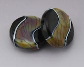 Glass Lampwork Beads Handmade Raku Tiger Stripe Black Lentils Metallic Earring Pair Heather Behrendt (1386) BHV SRA LETeam