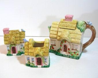 Cottage Teapot, Sugar And Creamer Set, House Teapot Set, Thatched Cottage Teapot