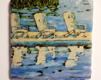 White Andirondack Chairs Tumbled Stone Coasters, Trivets, Tiles, Back Splash  Christi Dreese, Signed by the artist.