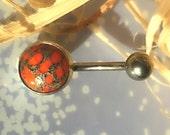 Hot Lava, Orange Coral, Navel Barbell, Belly Ring, 14 gauge