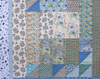 Quilt Baby Toddler Le Elephant Log Cabin Scrappy Patchwork Blue Grey Nursery Bedding Children ABC's Numbers Crib Cot