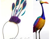 KEVIN from UP - Purple and Teal Peacock Kevin Inspired Headress Headband or Hairclip Fascinator for a Unique Halloween Costume