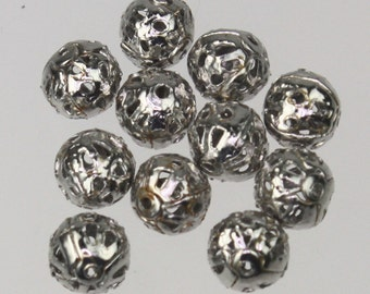 Wholesale Lot 500 pcs of Rhodium Plated Filigree Round Beads Spacer - 6mm - Ship from California USA