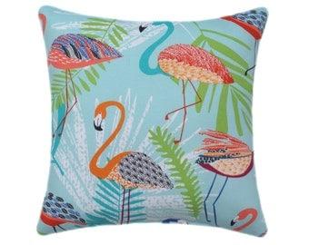 Flamingo Throw Pillow, Birds Pillow, Flamingo Capri Blue STUFFED Outdoor Decorative Throw Pillow, Blue Orange Pink Pillow - Free Shipping