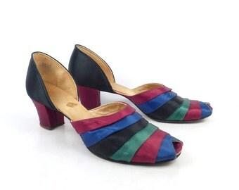 1940s Satin Heels Women's Peep toe Stripe Slippers