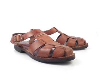 Cole Haan Sandals Brown Vintage 1980s Leather Shoes Women's size 8 1/2