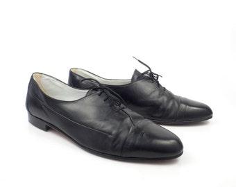 Black Leather Shoes Vintage 1980s Oxfords Jean Pier Clemente men's size 8 1/2