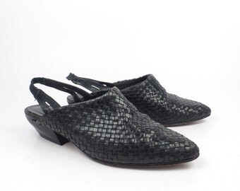 Woven Leather Shoes Black Vintage 1980s Brass Plum Women's size 5 M