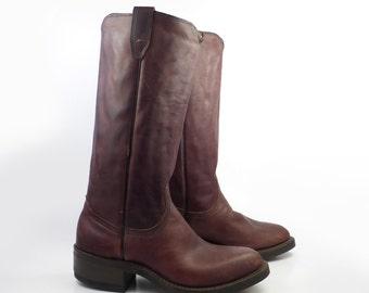 Cowboy Boots Vintage 1970s Tall Durango Brown Leather Brown Men's size 7 D