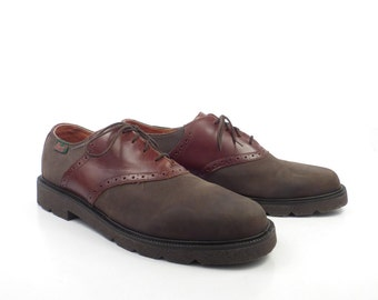 Men's Saddle Shoes Bass Vintage 1980s Brown Leather Oxfords Men's size 10 M