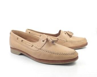 Men's Shoes Loafers Tan Carmel Brown Leather Vintage 1980s Generra Men's Size 10 M