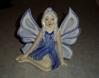 Hull Pottery Company New Crooksville Ohio Beautiful blue wing FAIRY nymph sprite
