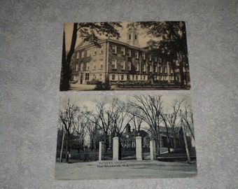 2 antique black & white photograph Rutgers University postcards Old Queens Building and Gateway New Brunswick, NJ