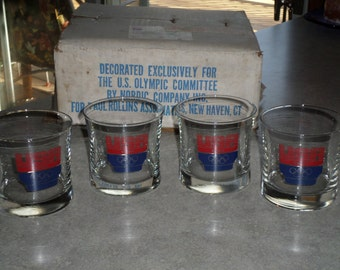 4 glass rock tumbler 1984 USA Olympic Committee Glasses original box Nordic for Rollins New Haven CT