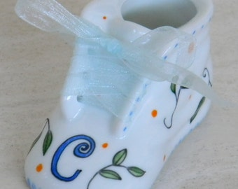Porcelain custom personalized baby shoe hand painted made to order