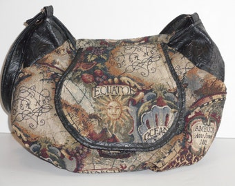 Purse Shoulder Bag Flap Old World Map Tapestry Black Tooled Vinyl Slouchy Adjustable Strap Many Pockets Ready to Ship