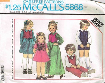 Girls Pullover Dress Shirt Jumpsuit Vest Child Sewing Pattern McCalls 5868 Children Size Cut 3 Toddler Boys