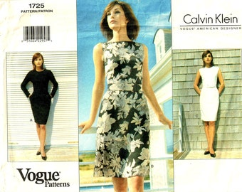 Calvin Klein Dress and Belt Fitted Bodice Front A Line Skirt Vogue 1725 Designer Sewing Pattern Size 6, 8 ,10 Bust 30.5 31.5 32.5