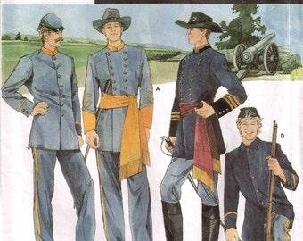 Mens Civil War Reenactment Halloween Costume Military Uniform Simplicity 7274 Sewing Pattern Size XS S M L XL 30 32 34 36 37 40 42 44 46 48