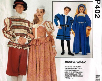 Medieval Renaissance Cosplay Reenacement Halloween Costume McCalls 6096 P402 Child Sewing Pattern Girls Boys Children Size 7