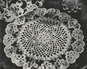 """Pansy Doily Crochet PATTERN # 6409 from a Star Book # 64 changed to a PDF instant download about 6"""" 8"""" 9"""" 10"""""""