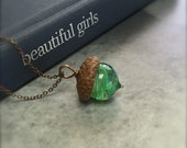 Glass Acorn Necklace - Tidepool Swirl by Bullseyebeads  READY TO SHIP