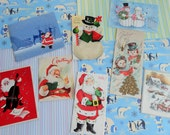 RESERVED for Jerre Santa and Snowmen Snow Couples in Vintage Christmas Card Lot No 811 Total of 8
