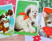 Expressive Doggie Faces of Christmas UNUSED Retro NOS for Grandpa Grandson and Brother Ski Dog has Glitter Christmas Lot No 469