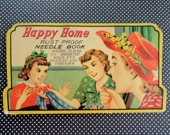 Ladies Sewing in Vintage Happy Home Needle Book 1950s era Needle Book Half Full Lady in Red Hat