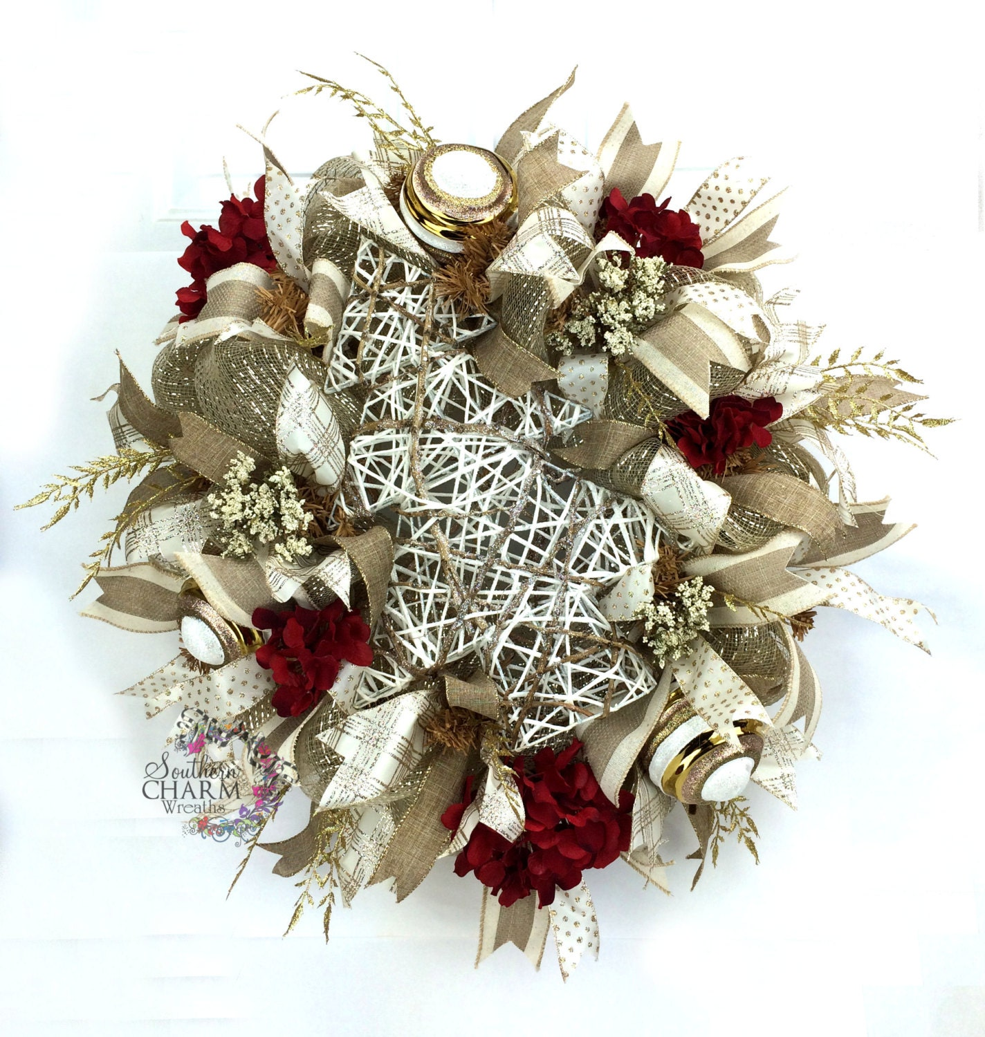 Deco Mesh Christmas Wreath In Burlap Cream & Gold With Red