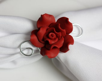 Red Rose Napkin Ring, Scarf Slide - Scarf Accessories, Romantic Dinner, Dining Decor, Gift for her, Table Decor