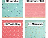 CUSTOM Cotton Cloth Pad, Under the Sea Cotton Woven, AP or Windpro Fleece, Pantyliner, Moderate, Heavy, Postpartum Cloth Menstrual Pad