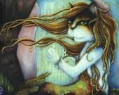 Calico Mermaid Cat, Under the Sea, Fantasy Cat Art Print 8x10