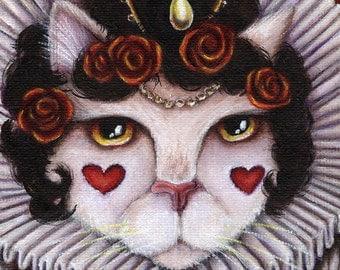 Queen of Hearts Cat, Though the Looking Glass Alice in Wonderland Cat Art