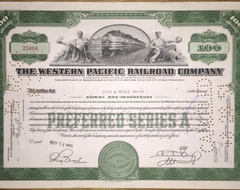 1950s-60s Vintage Stock Certificate for The Western Pacific Railroad Company