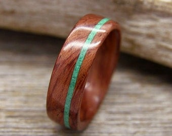 Bentwood Ring Bubinga Wooden Ring with Offset Malachite Inlay - Handcrafted Wood Wedding Ring - Custom Made