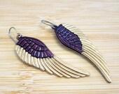 Angel Wings Hand Painted Charm Earrings