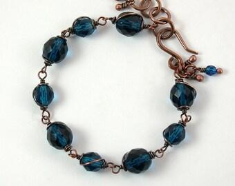 Royal Blue Czech Glass Bracelet, Antique Copper, Faceted Beads, Royal Blue, Adjustable, Antique Copper