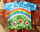 Adult Tie Dye T-shirt - Rainbow in the Garden - Made to order in any size