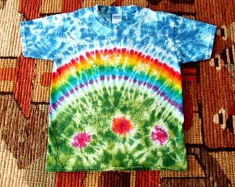 Youth Tie Dye T-shirt - Rainbow in the Garden - Made to order in any size